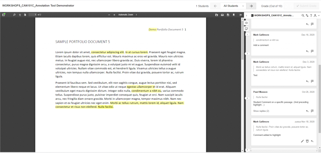 Hypothes.is installed in a D2L course.