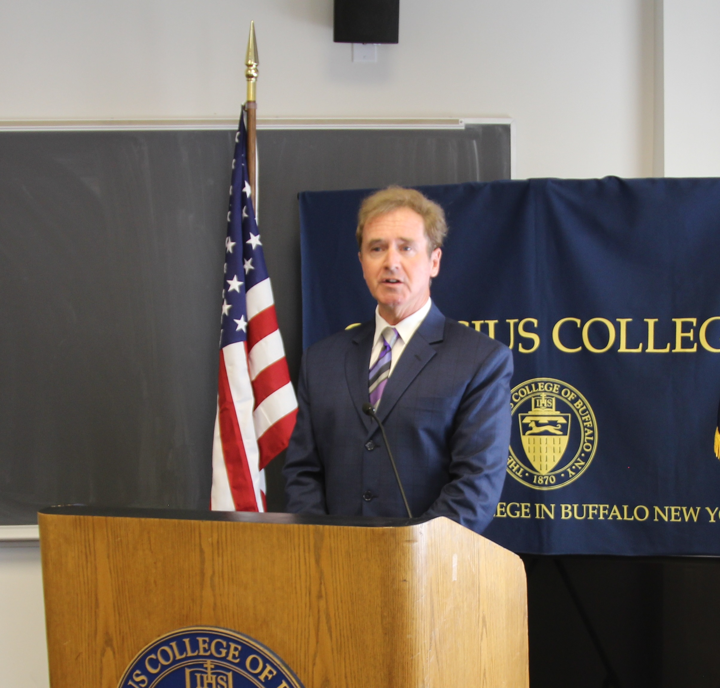 Congressman higgins announces veterans education flexibility act during news conference at canisius college the dome