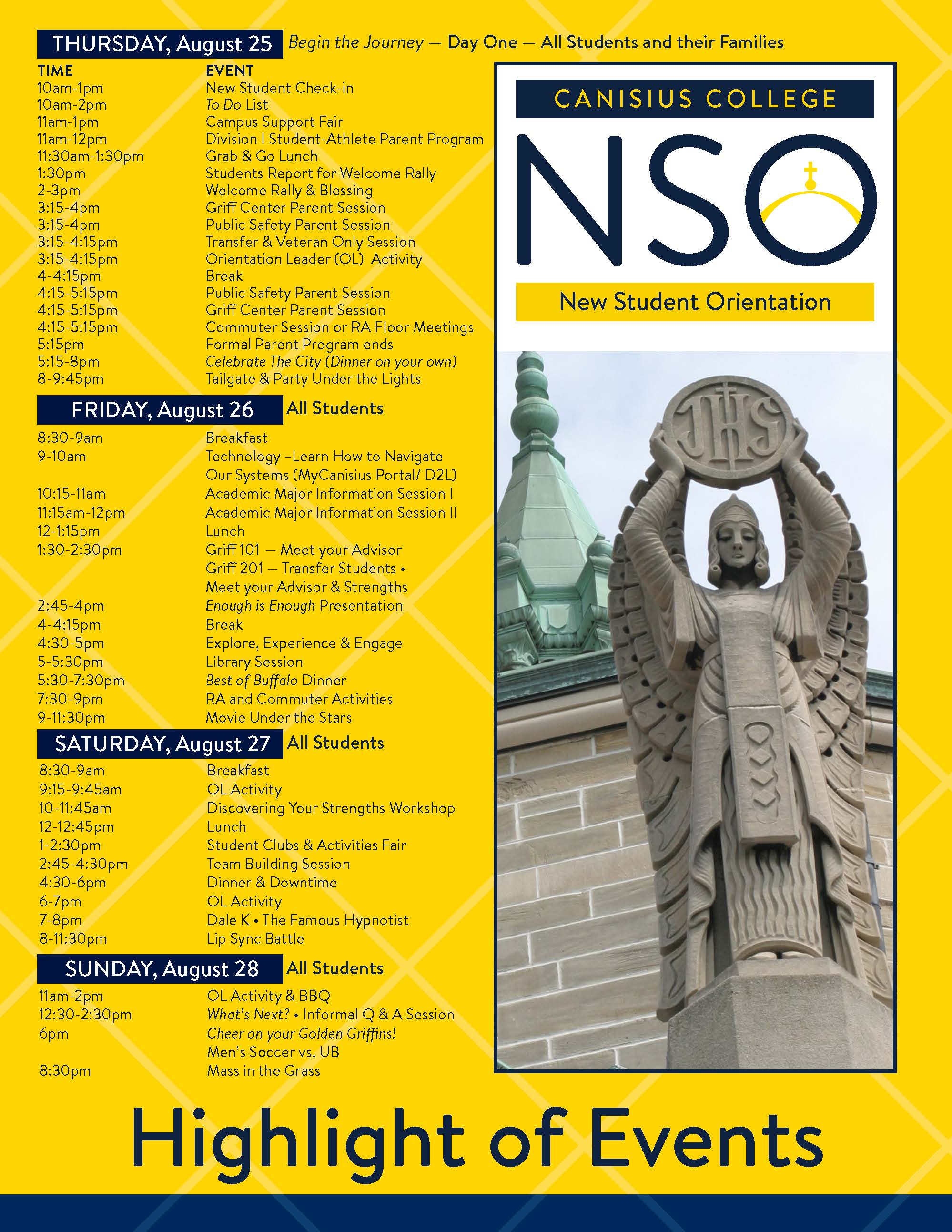NSO Schedule website