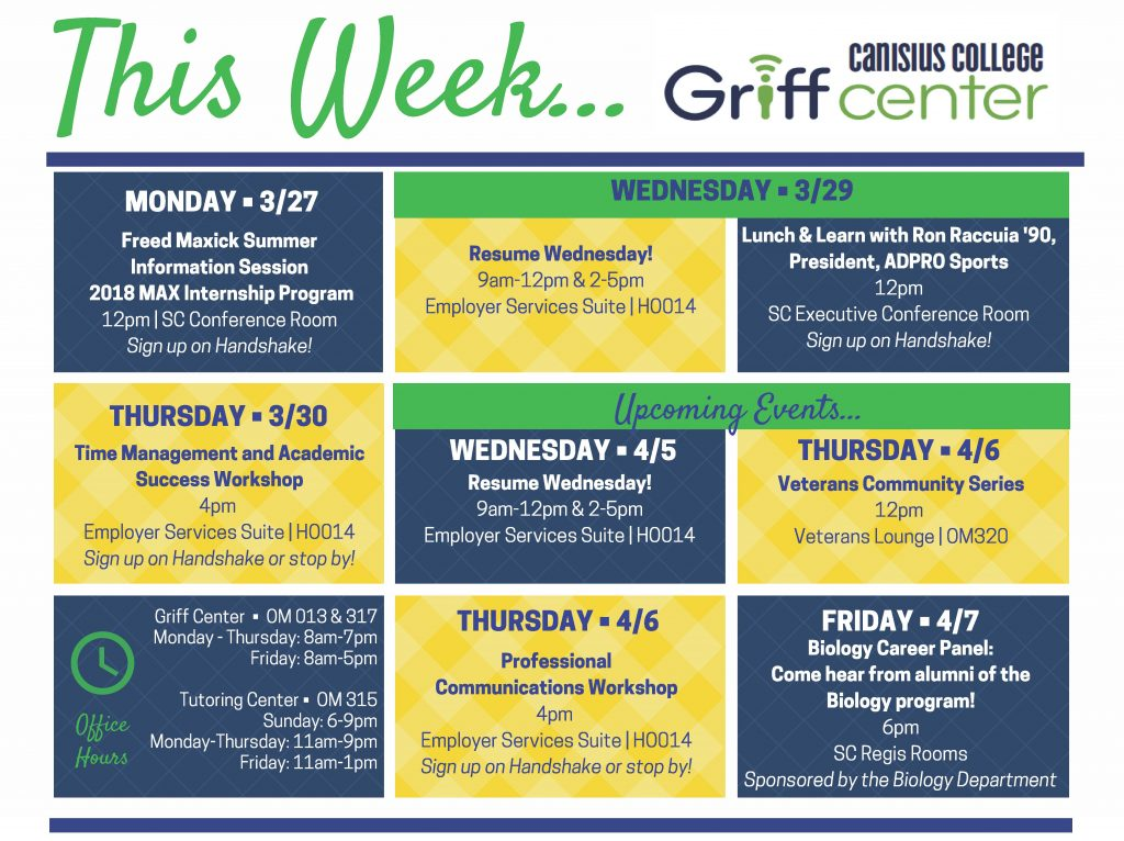 This Week in the Griff Center 327
