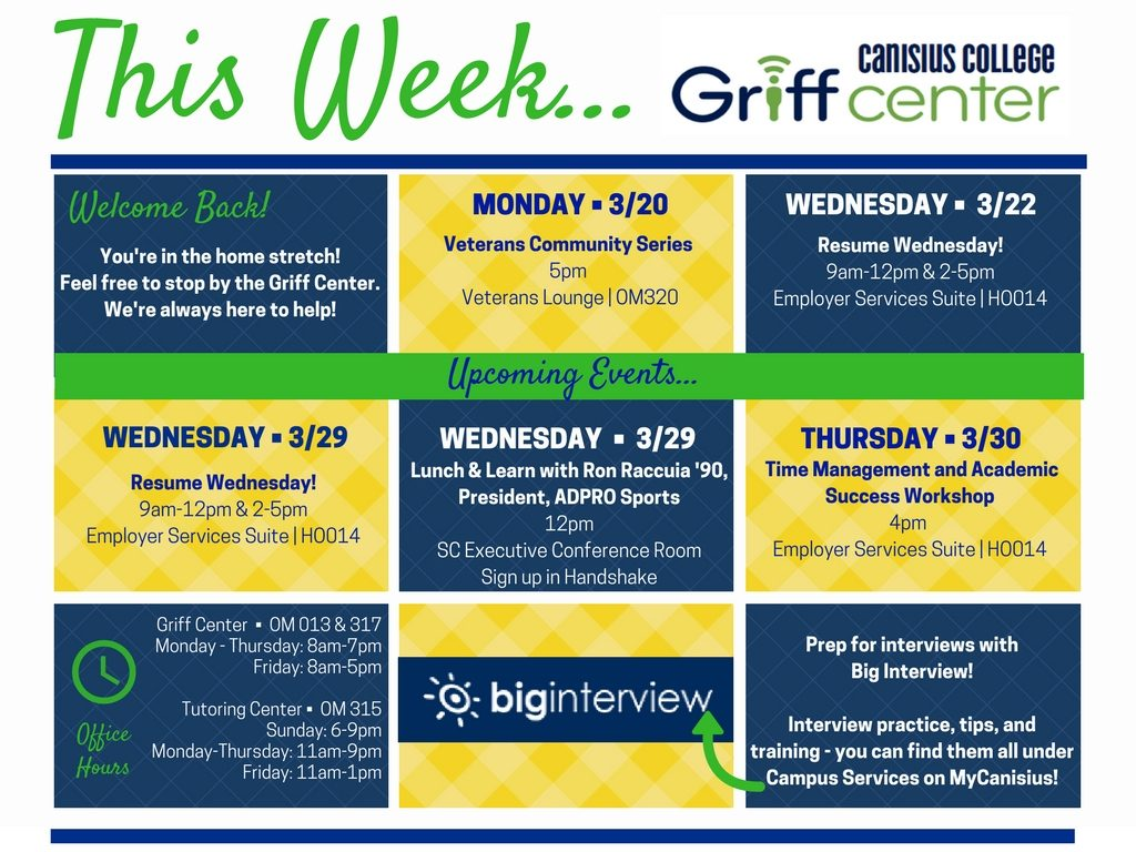 This Week in the Griff Center 3%2F20