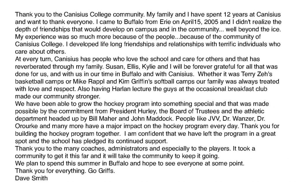 Thank you to Canisius campus